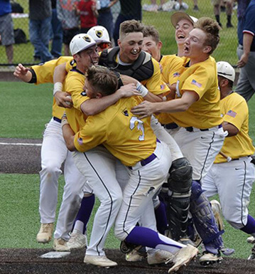 Baseball team celebrating their win